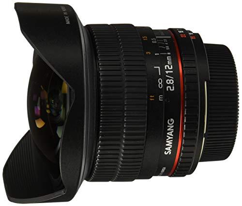 Samyang 12/2,8 Objektiv Fisheye DSLR Nikon F AE manueller Fokus automatischer Blendenring Fotoobjektiv, Superweitwinkel schwarz