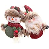 YeahiBaby 2PCS Christmas Pendant Santa Claus And Snowman Xmas Plush Hanging Ornaments Christmas Tree Decorations