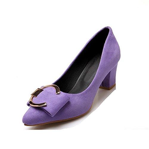 AllhqFashion Femme Pointu à Talon Correct Couleur Unie Tire Chaussures Légeres Violet