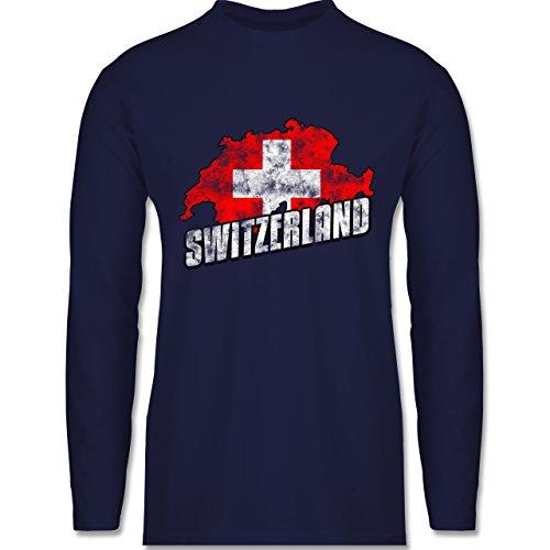 Shirtracer Fußball-WM 2018 - Russland - Switzerland Umriss Vintage - Herren Langarmshirt Navy Blau
