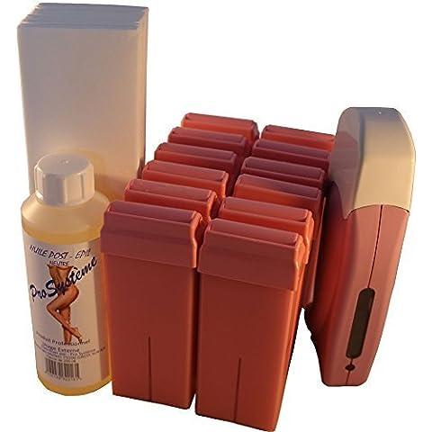 EPILWAX S.A.S - Kit D'Epilazione Assolo Completo A La Cera Usa e getta Rosa, con Rotella Grande Modello per i gambe, ascelle, e il corpo