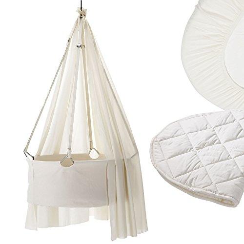 Preisvergleich Produktbild Leander Wiege Komplett-Set mit Himmel, Matratzenauflage, 2er-Pack Spannbettaken