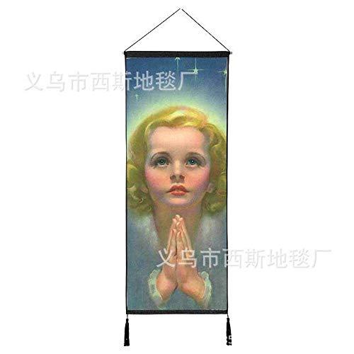 Jesucristo Colgando Tela de algodón Sala de Corte de la Virgen María Fondo Pintura Pared Colgando Pintura decoración de la Iglesia 9 120 * 45 cm