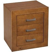 Dogar Kynus - Mesita 3 cajones, 55 x 50 x 35 cm, madera, color cerezo