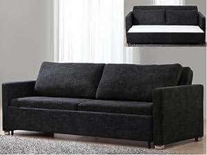 Canapé 3 places convertible en tissu MORPHEE - Gris anthracite