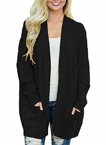 FIYOTE Womens Casual Open Front Knit Cardigan Long Sleeve Sweater Coat with Pocket