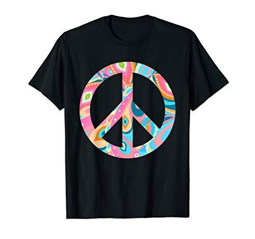 Hippie Kostüm Peace Zeichen Retro 60er 70er T-Shirt Geschenk (Peace Zeichen Hippie Kostüm)