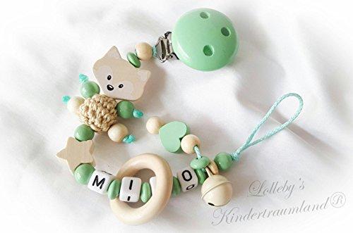 Baby Schnullerkette Teddy mit Namen - Kinder - Geschenk zur Geburt, Taufe grau weiß Größe: max. 22cm (ohne Clip) (mint, natur)