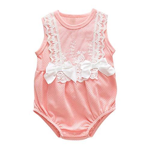 squarex Neugeborenen Baby Mädchen Body Spitze Overall Bowknot Romper Ärmellose Spielanzug Kinder Kletteranzug Outfits Sommer (Baby Hockey Kostüm)