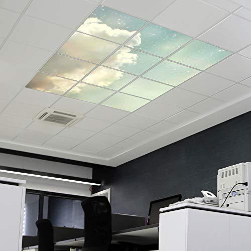 banjado LED Lichtdecke mit Acryl-Bild   Lichtdeckenplatte aus Acryl 62x62cm   Deckenpaneel mit Motiv Himmel Vintage   Panel für Deckenleuchte Rasterdecke