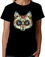 Velocitee Ladies T-Shirt Tattoo Cat Face W17020