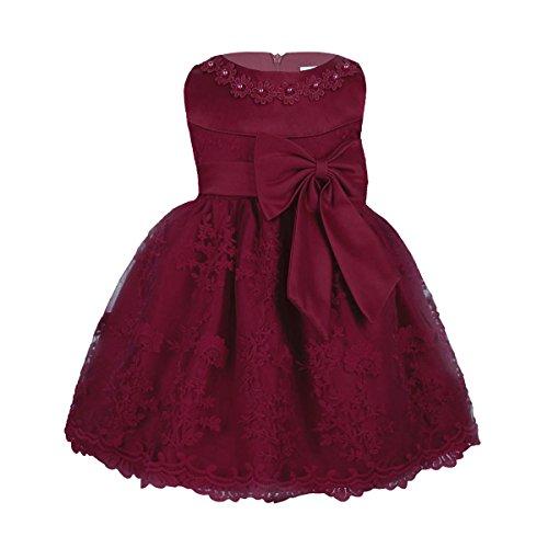 n Kleid Prinzessin Hochzeit Taufkleid Blumenmädchen Festlich Kleid Kleinkind Festzug Kleidung Weinrot Modell 3 80-86(Etikette 12M) ()