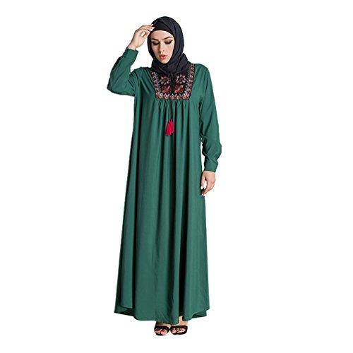 YAANCUN Mode Damen Muslim Stickerei Drucken Abaya Islam Lange Ärmel Maxikleid Arab Lose Robe