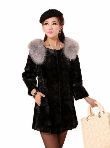 Queenshiny femme fourrure de vison long manteau avec d'occasion  Livré partout en Belgique