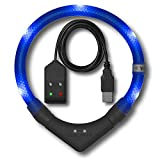 LEUCHTIE® Leuchthalsband Plus Easy Charge türkis Größe 70 I LED Halsband für Hunde I USB aufladbar I wasserdicht I extrem hell