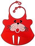 BOMIO Silikon-Lätzchen | mit praktischer Auffangschale | für Babys und Kleinkinder | wasserdicht, leicht abwaschbar, spülmaschinenfest | kindgerechte Tiermotive | geprüft nach EN 71