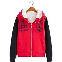 WYIKAI Sudadera Además Sudadera De Algodón De Mujeres Estudiantes De Invierno Capa Gruesa Corta Moda Zipper Hooded Cardigan, 2XL, Rojo