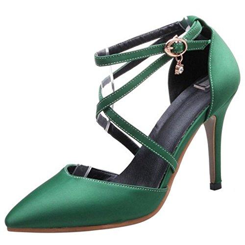 COOLCEPT Femme Mode Sangle De Cheville Sandales Talon Aiguille Bout Ferme Croise Chaussures Vert