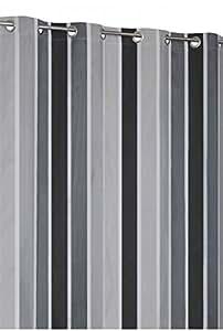 Rideau Occultant Rayé Multicolore 140x240cm Gris