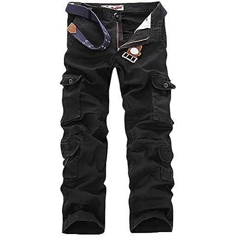 Panegy - Pantalones Militares Cargo Pantalón Largo de Algodón con Muchos Bolsillos Cargo Pants con Cinturón para Hombres Adultos Trabajo Viaje