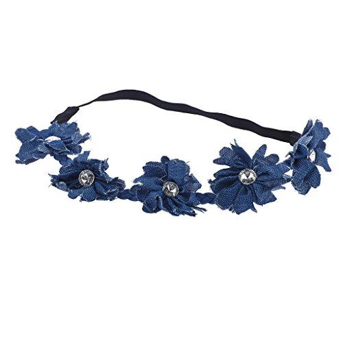 LUX Zubehör Blau Denim Kristall Strass Blumen Krone Blumen Headwrap