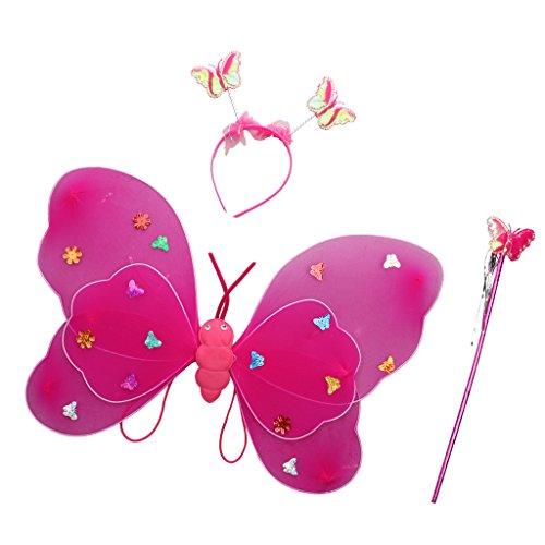 MagiDeal Glitzer Schmetterling Flügel mit Zauberstab Stirnband Set - Feen Kostüm Kinder - Roserot