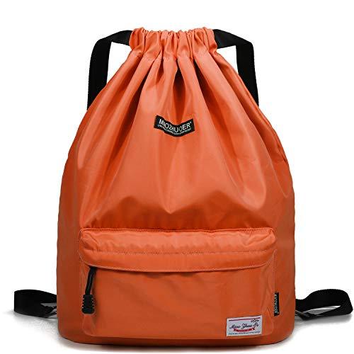 WANDF Wasserdichte Rucksack mit Teleskopischem Schulterriemen, für Einkauf und Sport Yoga (Orange)