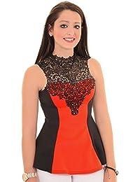 Fantasia - Haut Modèle Femme Sans Manches Col Clouté Crochet Contrasté Attache dans le Dos Evasé