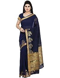 Paroma Art Women's Net Saree With Blouse Piece (Blue)