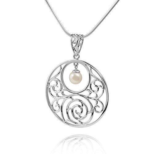 MATERIA Damen Anhänger Perle 925 Sterling Silber groß rund Ø40mm floral mit Box #KA-140