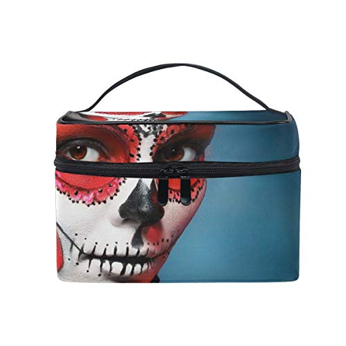 Tragbare hängende Make-up Kosmetiktasche Tasche,Travel Cosmetic Bag Halloween Sugar Skull Toiletry Makeup Bag Pouch Tote Case Organizer Storage for Women Girls