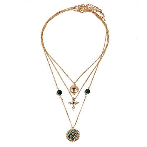 HSRG Hats Halskette Delicate Türkis Anhänger Halskette Kleidung Ornamente Persönlichkeit Tropfen Öl Metall Diamant Schönheit Halskette Für Frauen Mädchen Geschenk 1 Pcs,B (Pearl-kreuz-armband)