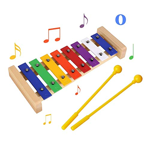 Baby Xylophone, Xylophone Glockenspiel for Kids Wooden Toys Percussion Musical Instrument with Free Metal Kazoo and Child-Safe Mallets Baby Early Educational Sound Toy Gift