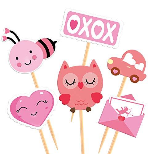 TUPARKA 60 Stücke Valentine Cupcake Toppers Picks Valentinstag Zahnstocher Fahnen für Kuchen Dekorationen Valentinstag Hochzeit Party Supplies