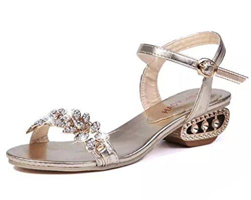 Minetom Damen Sommer Faux Strass Strand Sandalen Pantoffeln Peep Toe Sandaletten Gold EU 38