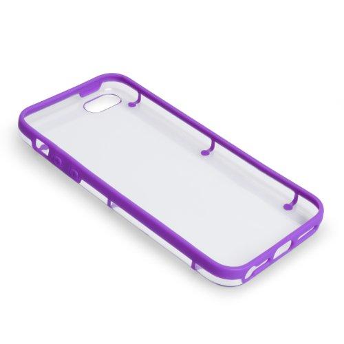 Cover iPhone 5 / 5S Custodia Silicone Gel Duro Viola / Trasparente