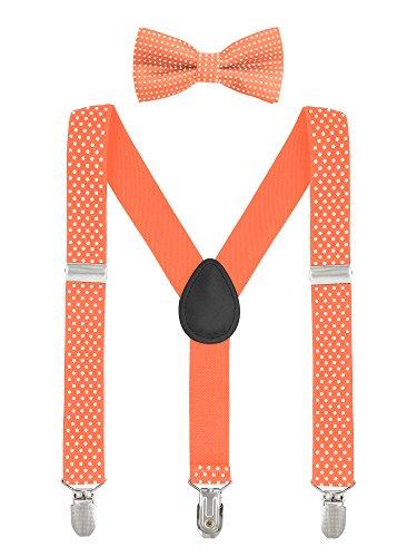 Baby Kinder Hosenträger mit Fliege Punkte Elastisch Gürtel 3 Clips Y-Form Jungen Mädchen Hosen Röcke Tutu Shorts Suspender - Orange (2 Boy Orange Shorts)