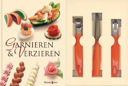 Garnieren und Verzieren-Set: Buch mit Buntmesser, Kugelausstecher und Kanneliermesser