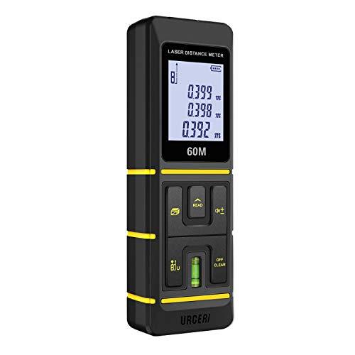 URCERI Misuratore Laser Z1 60M/197ft Automatico Professionale Telemetro Portatile con LCD Display Retroilluminato, 5 Modalità di Misurazione Precisione 2mm, Batteria Inclusa