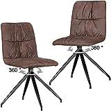 Wohnling Design Esszimmerstühle Herry im Retro Design, braun, 2er Set