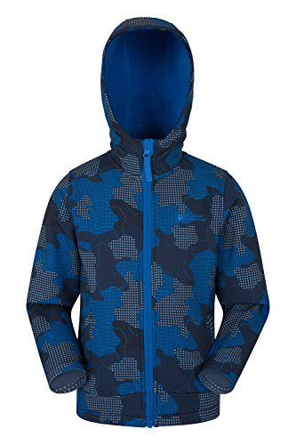 Mountain Warehouse Exodus Kids Printed Softshell Jacket - 2 Pockets Summer Coat, Fleece Lined Hoodie Jacket, Water Resistant Rain Coat- for Cycling, Hiking & Walking Two Tone Blue 7-8 Years