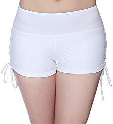 Flyily Women's Sports Swim Shorts With Adjustable Drawstring Mini Boyshorts Bikini Swimwear Tankini Bottoms (Uk 8 (Tag S), White)