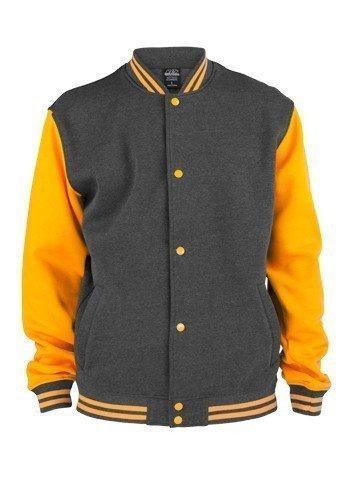 Urban Classics 2-Tone College Sweatjacket TB207 Charcoal Orange, Größe:L (Baumwolle-zwei-ton-taschen)