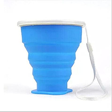 3zfamily Tasse de voyage camping plein air rétractable pliable portable en silicone. Portable Silicone Rétractable Télescopique Pliable, bleu - Feeding Accessori