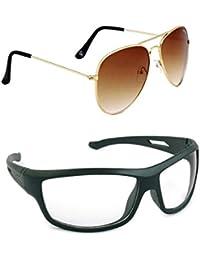 Magjons Fashion Combo Of Brown Aviator And Night Driving Sunglasses