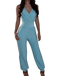 836caa80e3713 Gladiolus Tuta Elegante Pantaloni Lunghi Jumpsuit Donne V Collo Senza  Maniche Playsuit da Abito Cerimonia Azzurro