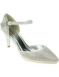 9da94a5e74ad Chic Feet Silver Glitter Womens Party Dance Diamante Evening Wedding Bridal  Prom Mary Jane Mid Heel