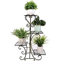 Malayas Estantería para Macetas Soporte Metálico para Exterior Interior Jardín Escalera Estantería Decorativa para Plantas Flores de 4 Pisos 82×50×25cm