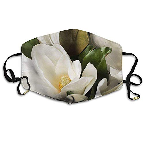 White Magnolia Flower Anti Dust Breathable Face Mouth Mask for Man Woman