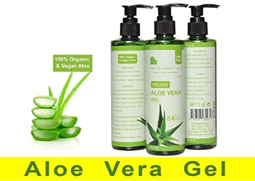 100% Organic and Vegan Aloe Vera Gel for Dry, sunburned, and irritated Skin and Hair – De Premium Quality – -by Secret Essentials
